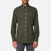 Hackett Men's Garment Dye Oxford Long Sleeve Shirt - Moss Green