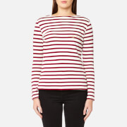 Maison Labiche Women's Crazy in Love Long Sleeve T-Shirt - White/Burgundy - L - White/Burgundy