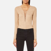 T by Alexander Wang Women's Stretch Faux Suede Lace Up Bodysuit - Camel - US 4/UK 8 - Camel