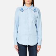 Rails Women's Ingrid Hummingbirds Embroidery Shirt - Blue - L - Blue