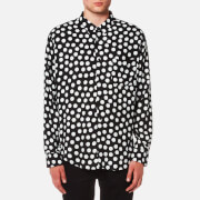 AMI Men's Dots Print Large Fit Shirt - Black/White