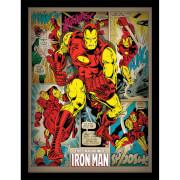 Affiche en Bois Rétro Marvel Iron Man Big Issue 40 x 30 cm