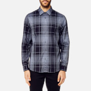 Michael Kors Men's Classic Fit Giant Check Peached Cotton Long Sleeve Shirt - Midnight
