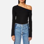Helmut Lang Women's Asymmetric Shoulder Soft Wool Top - Black - S - Black