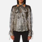 Perseverance London Women's Metallic Chiffon Lace Panel Blouse - Black - UK 10 - Gold