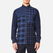 Tommy Hilfiger Men's Checked Patchwork Long Sleeve Shirt - Indigo