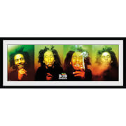 Bob Marley Faces - 30 x 12 Inches Framed Photograph