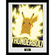 Pokémon Thunder Bolt Pikachu - 16 x 12 Inches Framed Photograph