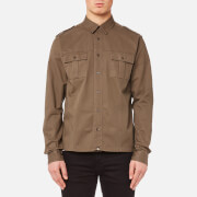 Pretty Green Men's Marlinford Long Sleeve Shirt - Khaki