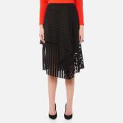 Diane von Furstenberg Women's Front Ruffle Midi Skirt - Black - US 4/UK 8 - Black