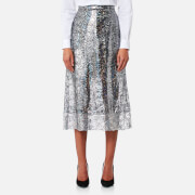 Christopher Kane Women's Midi Foil Skirt - Silver - IT 42/UK 10 - Silver