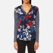 Joules Women's Beatrice Jersey/Woven Mix Top - French Navy Fay Floral