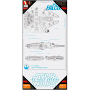 SD Toys Star Wars Episode VII Glass Poster - Millennium Falcon (50 x 25cm)