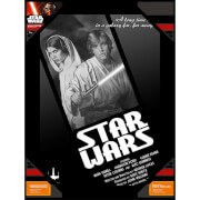SD Toys Star Wars Glass Poster - Luke Skywalker and Princess Leia in Black and White (30 x 40cm)