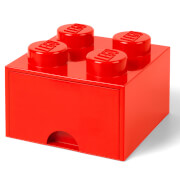 LEGO Storage 4 Knob Brick   1 Drawer (Bright Red)