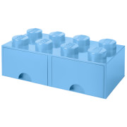 LEGO Storage 8 Knob Brick - 2 Drawers (Light Royal Blue)