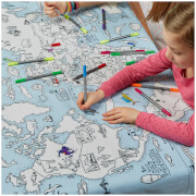 Doodle World Map Tablecloth with 10 Wash Out Pens