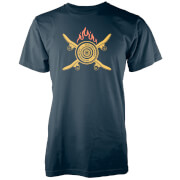 Crossed Flaming Skateboard Navy T Shirt   S   Navy