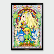 Nintendo Legend of Zelda Link and Zelda Chromalux High Gloss Metal Poster