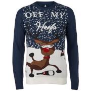 Threadbare Off My Hoofs Kersttrui - Marineblauw