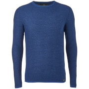 Threadbare Men's Barnes Textured Crew Neck Jumper - Rich Indigo