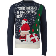 Threadbare Men's Santa's Present Christmas Jumper - Navy