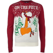 Threadbare Men's On the Piste Christmas Jumper - Blood Red