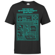 Nintendo NES Controller Blueprint Black T-Shirt