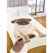 Dreamscene Pug Faux Fur Throw (150 x 200cm)