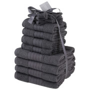 Highams 100% Cotton 12 Piece Towel Bale (500GSM) - Charcoal