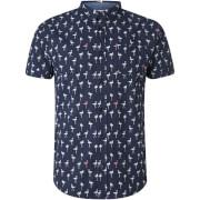 Brave Soul Men's Braun Bird Print Short Sleeve Shirt - Navy