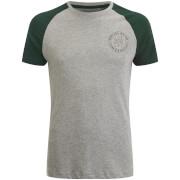 Brave Soul Men's Everest Raglan T-Shirt - Ecru Marl/Bottle Green