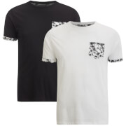 Brave Soul Men's 2 Pack Vine Pocket T-Shirt - Black/White