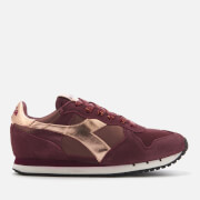Diadora Heritage Women's Trident W Low Satin Suede Runner Trainers - Violet Port Royale - UK 4 - Burgundy