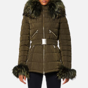 Froccella Women's Mid Belt Big Fur Collar Coat - Khaki/Khaki Fur
