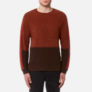 Folk Men's Panel Texture Crew Neck Jumper - Burnt Orange Mix