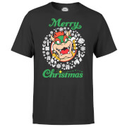 T-Shirt Homme Merry Christmas Couronne - Super Mario Nintendo - Gris