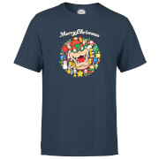 Nintendo® Super Mario Bowser Merry Christmas Wreath T-Shirt - Navy