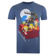 The Simpsons Men's Christmas Sleigh T-Shirt - Indigo