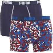 Lot de 2 Boxers Imprimés Puma - Noir / Jaune / Rouge / Bleu