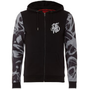 DFND Men's Flickers Zip Through Contrast Sleeve Hoody - Black