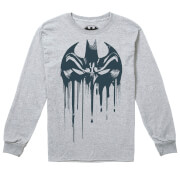 T-Shirt Manches Longues Enfant DC Comics Bat Mask - Gris Chiné