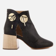 MM6 Maison Margiela Women's Ankle Boot with Cut Out Side and Wooden Block Heels - Black - EU 38/UK 5 - Black
