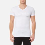 emporio armani men's stretch cotton v neck t-shirt - bianco - s