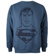 DC Comics Men's Superman Acid Wash Sweatshirt - Airforce Blue