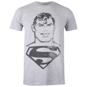 DC Comics Men's Superman Acid Wash T-Shirt - Grey Marl