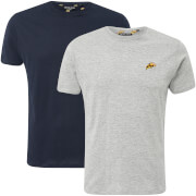 Brave Soul Men's Dorado Burger & Pizza 2-Pack T-Shirt - Navy/Light Grey Marl