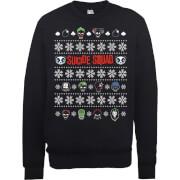 DC Comics Suicide Squad Harley Joker Panda Faces Black Christmas Sweatshirt   XXL   Black