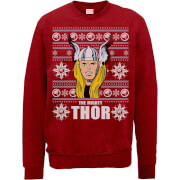 Marvel Comics The Mighty Thor Gezicht Kersttrui - Rood