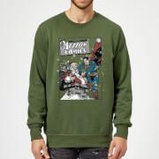 DC Comics Originals Superman Action Comics Green Christmas Sweatshirt   XXL   Green